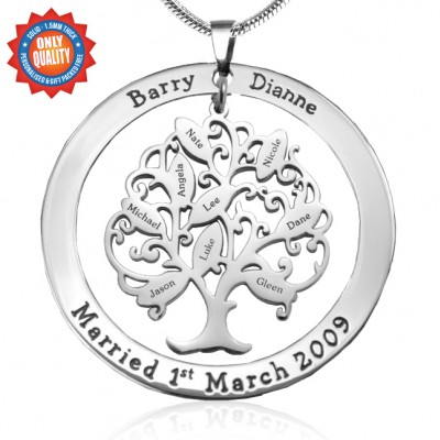 Personalised Tree of My Life Washer 9 - Sterling Silver - Crafted By Birthstone Design™