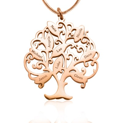 Personalised Tree of My Life Necklace 9 - 18ct Rose Gold Plated - Crafted By Birthstone Design™