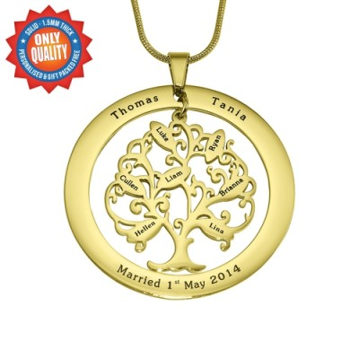 Personalised Tree of My Life Washer 7 - 18ct Gold Plated - Crafted By Birthstone Design™