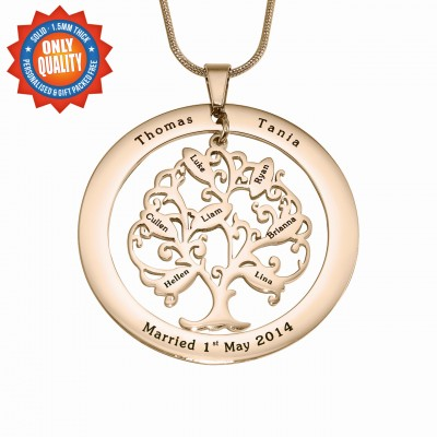 Personalised Tree of My Life Washer 8 - 18ct Rose Gold Plated - Crafted By Birthstone Design™