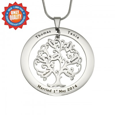 Personalised Tree of My Life Washer 7 - Sterling Silver - Crafted By Birthstone Design™
