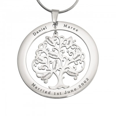 Personalised Tree of My Life Washer 8 - Sterling Silver - Crafted By Birthstone Design™