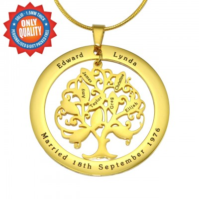 Personalised Tree of My Life Washer Necklace 10 - 18ct Gold Plated - Crafted By Birthstone Design™