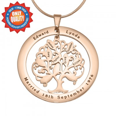 Personalised Tree of My Life Washer 10 - 18ct Rose Gold Plated - Crafted By Birthstone Design™