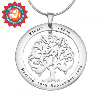 Personalised Tree of My Life Washer Necklace 10 - Sterling Silver - Crafted By Birthstone Design™