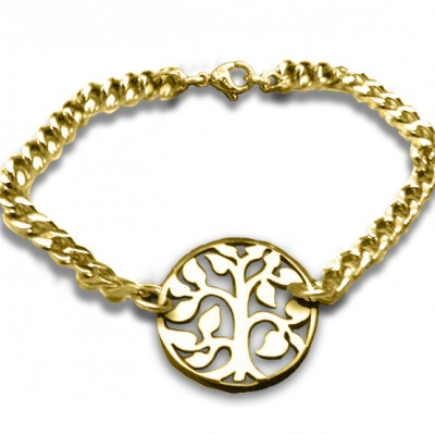 Personalised Tree Bracelet - 18ct Gold Plated - Crafted By Birthstone Design™
