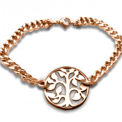 Personalised Tree Bracelet/Anklet - 18ct Rose Gold Plated - Crafted By Birthstone Design™