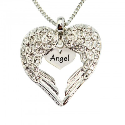 Personalised Angels Heart Necklace with Heart Insert - Crafted By Birthstone Design™