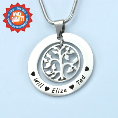 Personalised My Family Tree Necklace - Sterling Silver - Crafted By Birthstone Design™