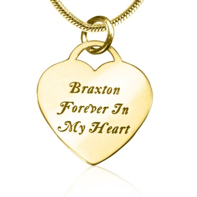 Personalised Forever in My Heart Necklace - 18ct Gold Plated - Crafted By Birthstone Design™