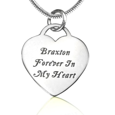 Personalised Forever in My Heart Necklace - Sterling Silver - Crafted By Birthstone Design™