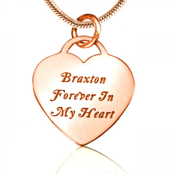 Personalised Forever in My Heart Necklace - 18ct Rose Gold Plated - Crafted By Birthstone Design™