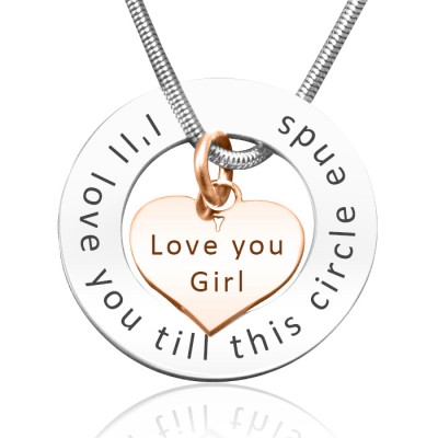 Personalised Circle My Heart Necklace - Two Tone HEART in Rose Gold - Crafted By Birthstone Design™