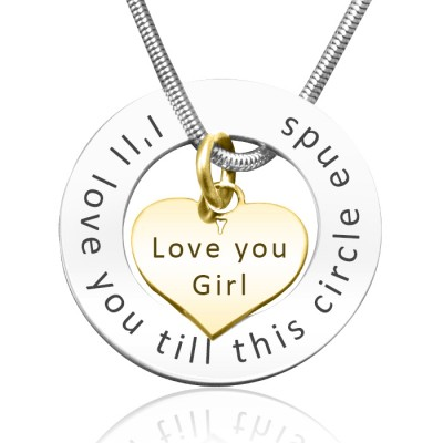 Personalised Circle My Heart Necklace - Two Tone HEART in Gold - Crafted By Birthstone Design™