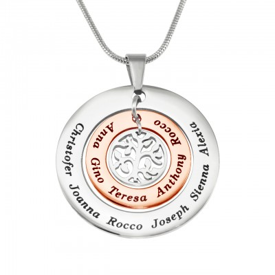 Personalised Circles of Love Necklace Tree - TWO TONE - Rose Gold  Silver - Crafted By Birthstone Design™