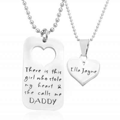 Personalised Dog Tag - Stolen Heart - Two Necklaces - Silver - Crafted By Birthstone Design™