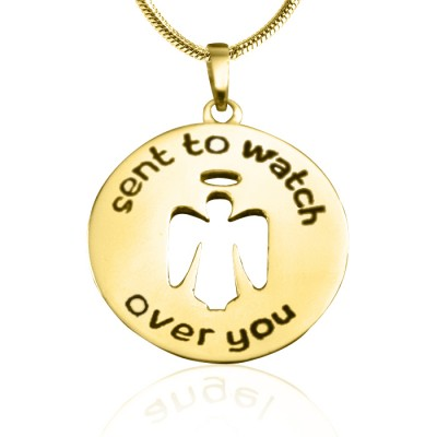 Personalised Guardian Angel Necklace 2 - 18ct Gold Plated - Crafted By Birthstone Design™