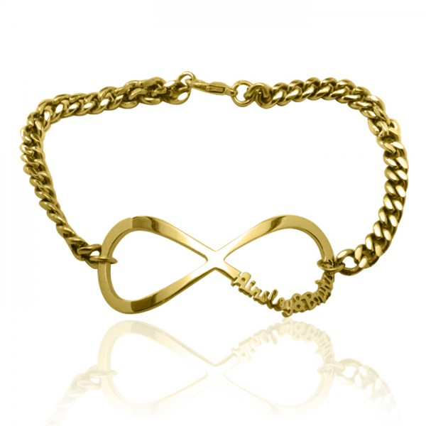Personalised Infinity Name Bracelet/Anklet - 18ct Gold Plated - Crafted By Birthstone Design™