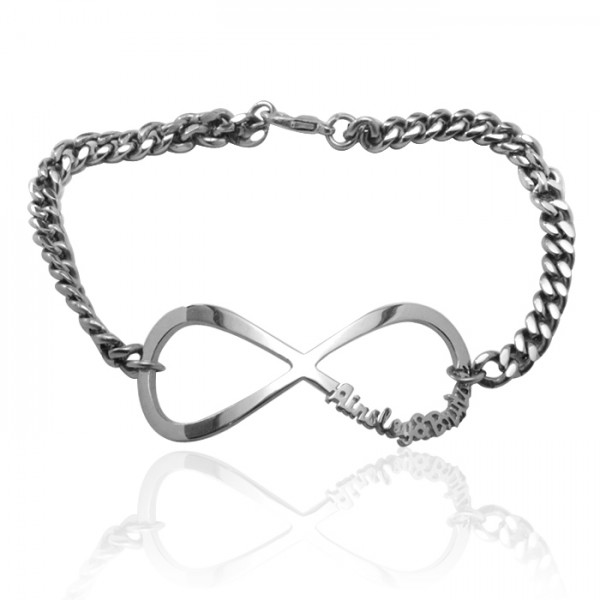 Personalised Infinity Name Bracelet/Anklet - Sterling Silver - Crafted By Birthstone Design™