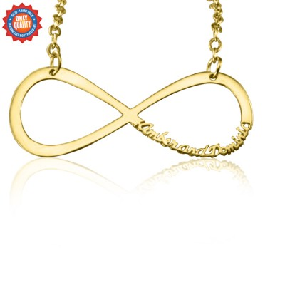 Personalised Classic Infinity Name Necklace - 18ct Gold Plated - Crafted By Birthstone Design™