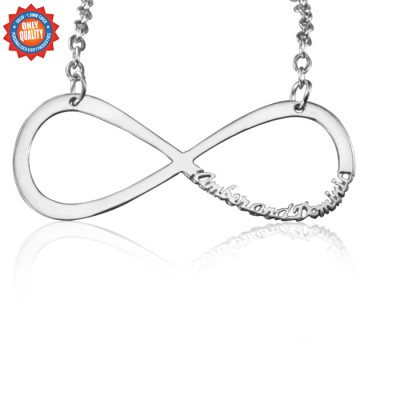 Personalised Classic Infinity Name Necklace - Sterling Silver - Crafted By Birthstone Design™