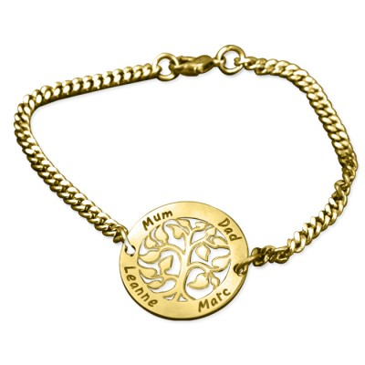Personalised My Tree Bracelet - 18ct Gold Plated - Crafted By Birthstone Design™