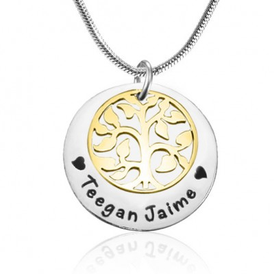 Personalised My Family Tree Single Disc - Two Tone - Gold  Silver - Crafted By Birthstone Design™