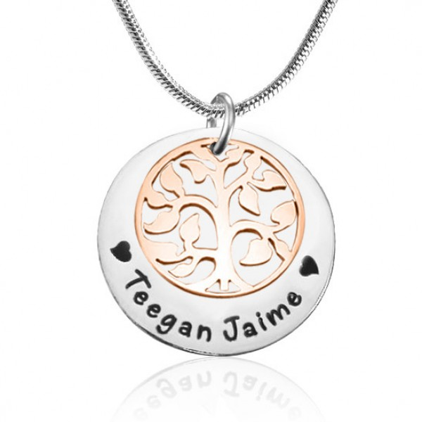 Personalised My Family Tree Single Disc - Two Tone - Rose Gold  Silver - Crafted By Birthstone Design™