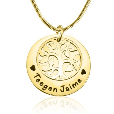 Personalised My Family Tree Single Disc - 18ct Gold Plated - Crafted By Birthstone Design™