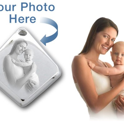 925 Sterling Silver 3D Diamond Photo / Picture Engraved Pendant - Custom - Crafted By Birthstone Design™