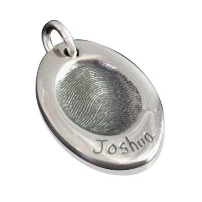 925 Sterling Silver FingerPrint Oval Pendant - Crafted By Birthstone Design™