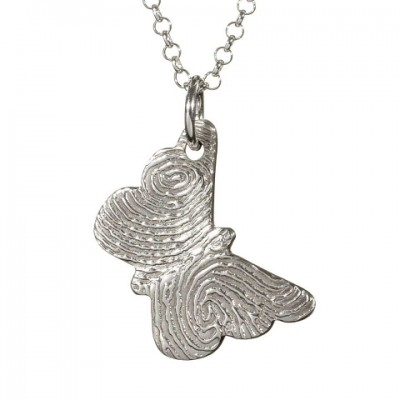 925 Sterling Silver FingerPrint Butterfly Pendant - Crafted By Birthstone Design™