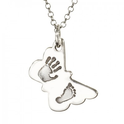 Butterfly Hand Foot Print Necklace - Crafted By Birthstone Design™