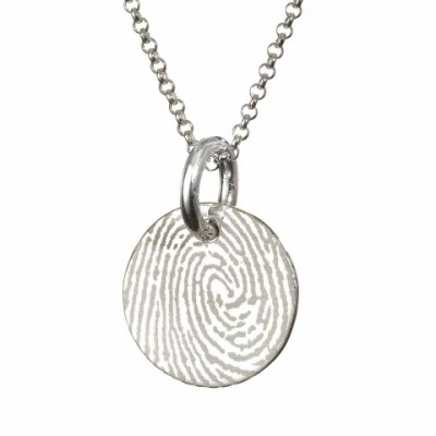 Pattened FingerPrint Circle Pendant - Crafted By Birthstone Design™