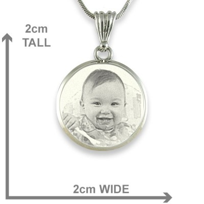 925 Sterling Silver Photo In Circle Pendant Necklace - Crafted By Birthstone Design™