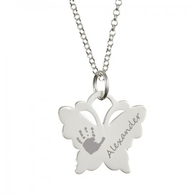 Engraved Butterfly Handprint Necklace - Crafted By Birthstone Design™