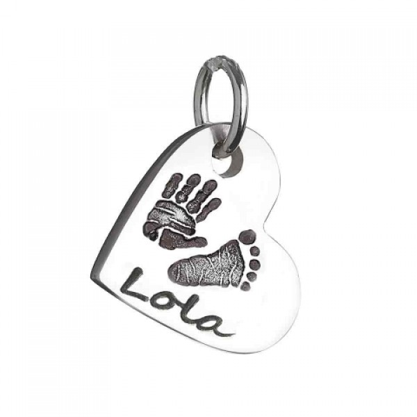 925 Sterling Silver Hand / Footprint Heart Charm Necklace - Crafted By Birthstone Design™