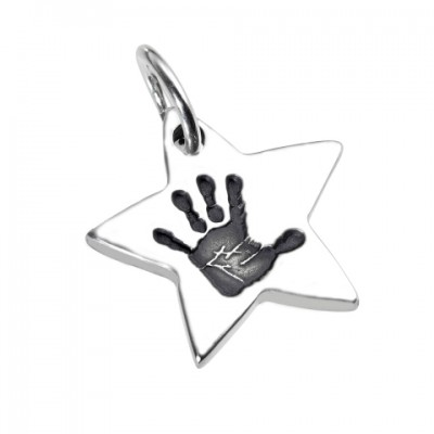 925 Sterling Silver Hand / Footprint Star Pendant - Crafted By Birthstone Design™