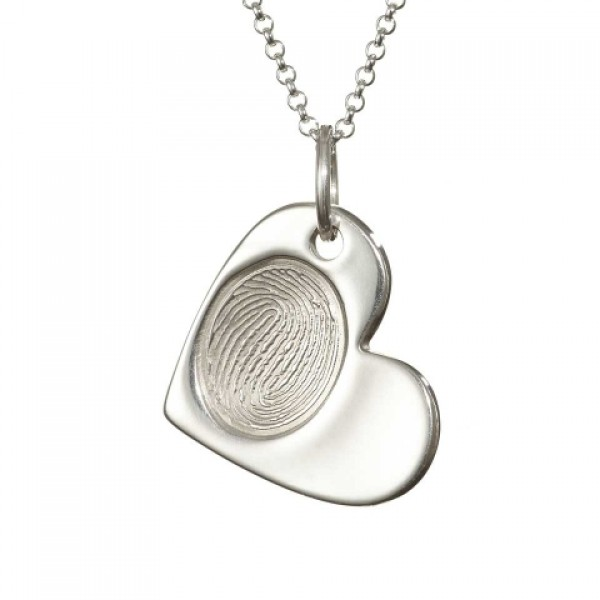 925 Sterling Silver FingerPrint Cascade Heart Pendant - Crafted By Birthstone Design™
