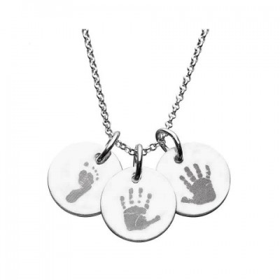 925 Sterling Silver Hand/Footprint Engraved Disc Pendant - Crafted By Birthstone Design™