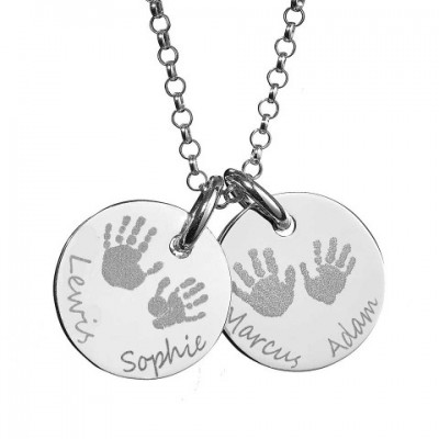 Large Engraved Handprint Necklace For Children - Crafted By Birthstone Design™
