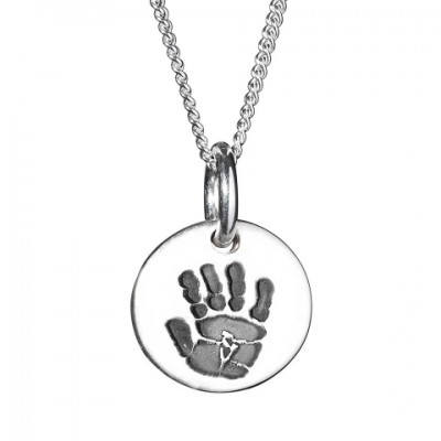 925 Sterling Silver Hand / Footprint Medium Circle Pendant - Crafted By Birthstone Design™