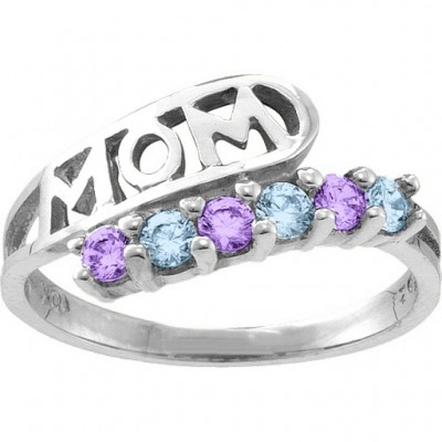 Cherish  MOM Cut-out 2-6 Stones Ring  - Crafted By Birthstone Design™