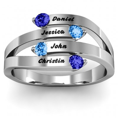 Connection  Interwoven Stones Ring  - Crafted By Birthstone Design™