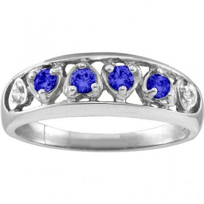 Lyric  Embedded Hearts Ring with 2-6 stones  - Crafted By Birthstone Design™