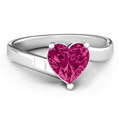 Passion  Large Heart Solitaire Ring - Crafted By Birthstone Design™
