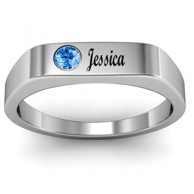 Soliloquy  Stone and Name Ring  - Crafted By Birthstone Design™
