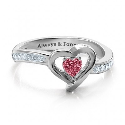 18ct White Gold Falling For You Accented Heart Ring - Crafted By Birthstone Design™