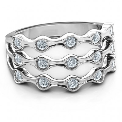 15 Stone Family Wave Ring  - Crafted By Birthstone Design™