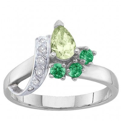 2-7 Stones Ribbon Ring  - Crafted By Birthstone Design™